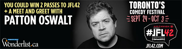 You could WIN 2 passes to JFL42 plus a meet and greet with Patton Oswalt at the Sony Centre on October 2!