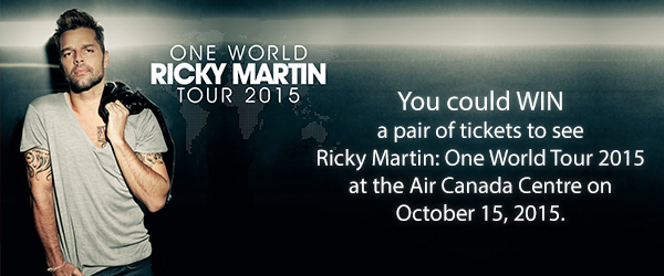 You could WIN a pair of tickets to see Ricky Martin: One World Tour 2015